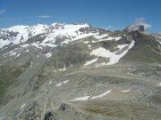 Le col d'Aussois (2916m) et le glacier du Génépy vus depuis la pointe de l'Observatoire